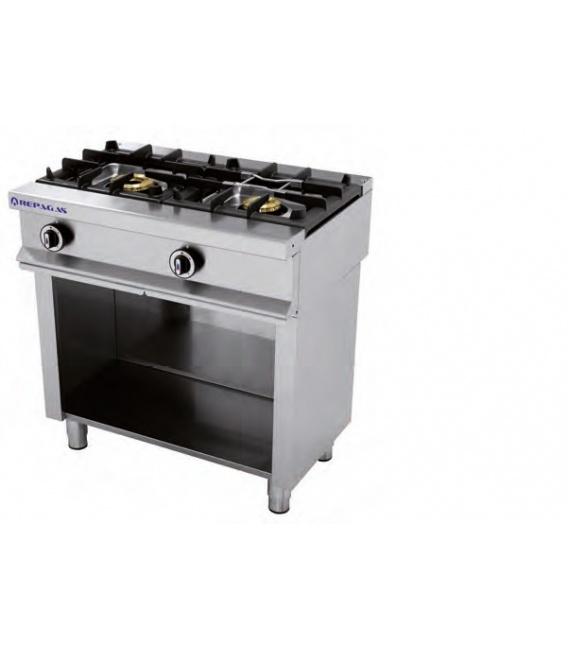 Cocina Industrial a Gas 2 Fuegos Fondo 550 Repagas