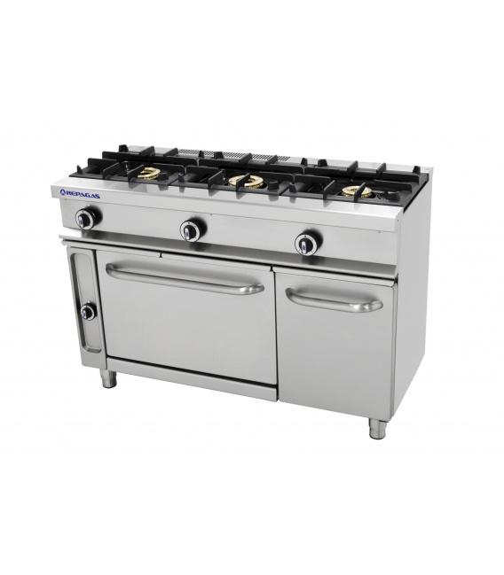 Cocina Industrial a Gas 3 Fuegos Horno y Gratinador Fondo 550 CG-531/G Repagas