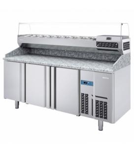 Mesa Fría Refrigerada Pizzas con Vitrina Ingredientes MPG Infrico